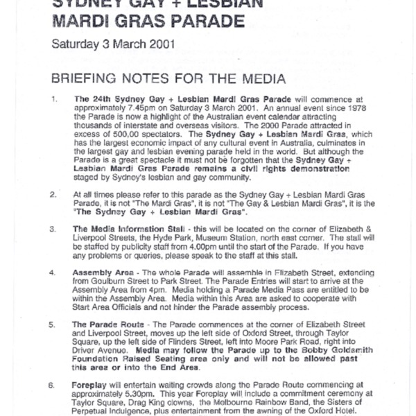 Sydney Gay + Lesbian Mardi Gras Parade Briefing Notes for the Media